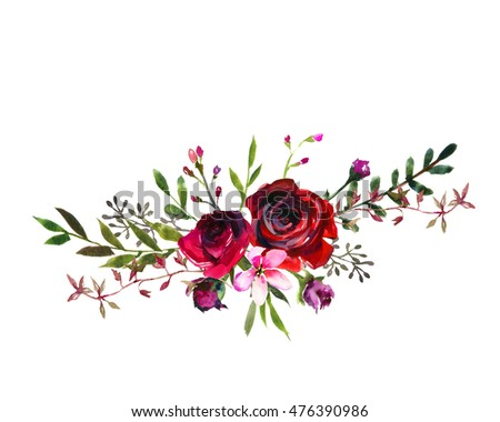 Watercolor Floral Bouquet Purple Burgundy Roses Peonies Fall Leaves And Flowers Isolated On White Background