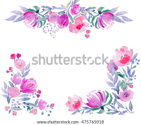 Watercolor floral composition. Hi-res file. Hand painted. Raster illustration.
