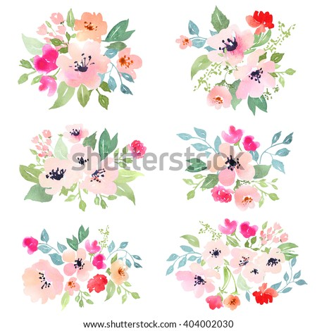 Watercolor floral composition. Set of 6. Clipping path included. Fast isolation. Hi-res file. Hand painted. Raster illustration.