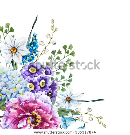 watercolor floral design, vintage greeting, floral bouquet, flower Peony, Primrose, Hydrangea, daffodil, bluebell, botany - stock photo