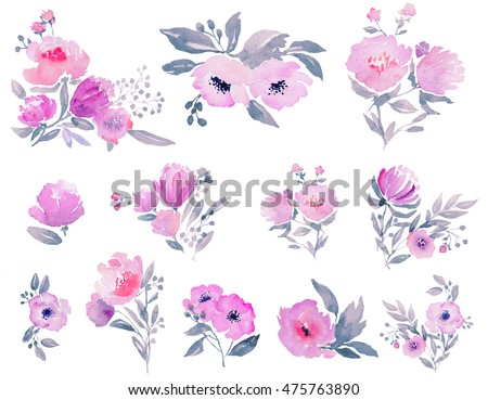 Watercolor floral elements. Hi-res file. Hand painted. Raster illustration.