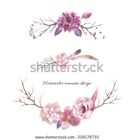 Watercolor floral elements isolated on white background. Vintage style posy set with wood branches, rose, succulents, feathers, hellebore flower, berries, leaves. Natural hand painted design object - stock photo