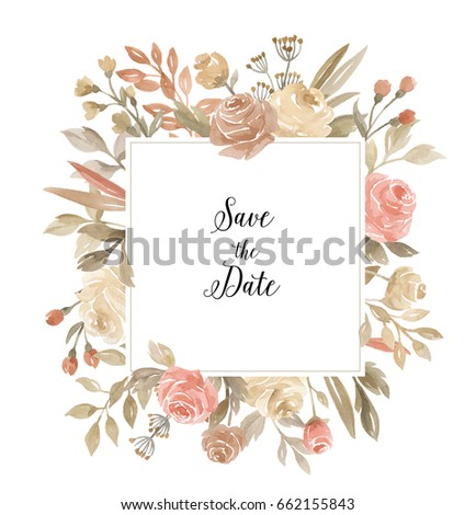 Watercolor Floral Frame Roses Leaves Branches Stock Illustration ...