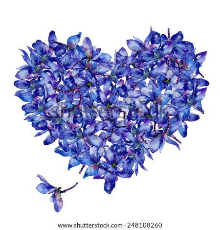 Watercolor floral heart of delphiniums. Card on Valentine's Day - stock photo