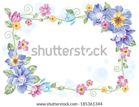 watercolor floral illustration collection.  flowers arranged un a shape of the wreath perfect  - stock photo
