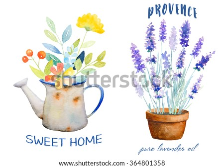 Watercolor floral Logos. Clipping path included. Fast isolation. Hi-res file. Hand painted. Raster illustration.