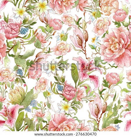 Watercolor floral pattern and seamless background. Ideal for printing onto fabric and paper or scrap booking. Hand painted. Raster illustration. - stock photo