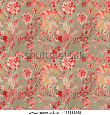 Watercolor floral pattern. Hand-drawn work done in different techniques. Vintage painting floral seamless pattern