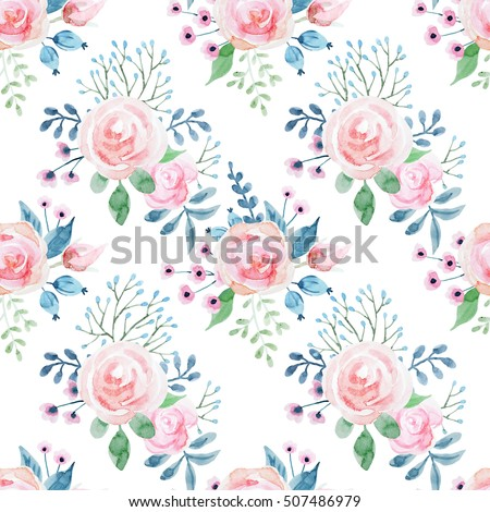 Watercolor Floral Pattern With Roses Cute Wallpaper