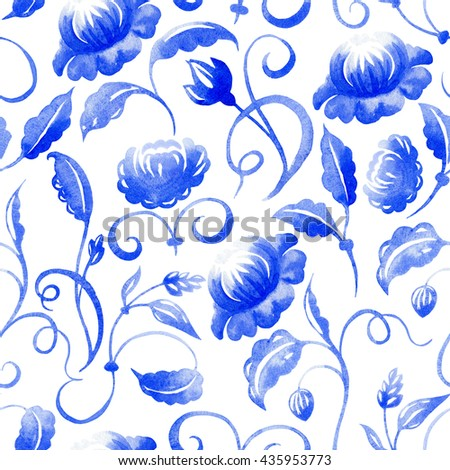 Watercolor floral seamless pattern. Blue flowers. Watercolor flowers. Delft blue.