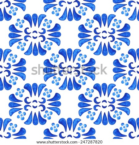Watercolor floral seamless pattern with blue flowers, petals on white background. Russian gzhel style - stock photo