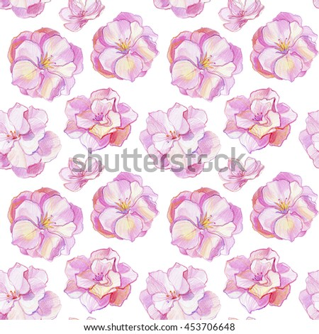 Watercolor floral seamless pattern with closeup grow spring branch blossom sakura, cherry tree with flowers,  Hand painting on paper - stock photo