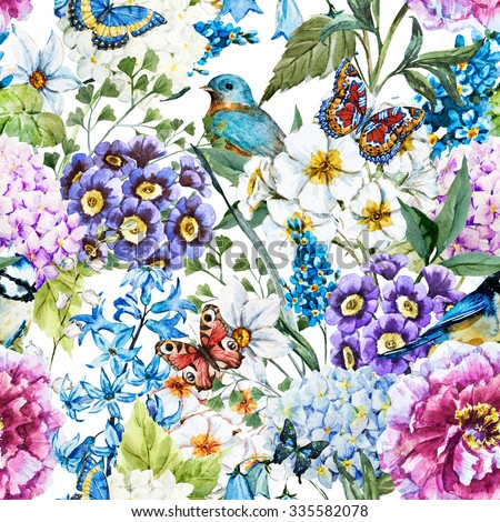 watercolor floral vintage pattern with flowers and birds, butterflies. Peony flower, primrose, hyacinth on a white background - stock photo