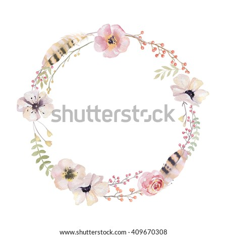 Watercolor floral wreath. Watercolour natural frame: leaves, feathers, flowers, birds. Isolated on white background. Artistic decoration illustration. Save the date , weddign design, greeting card - stock photo