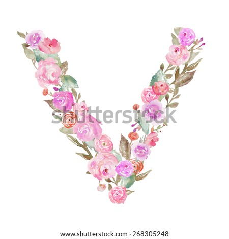 S Alphabet In Flowers Watercolor Flower Alphabet. V Monogram Letter V Made of Flowers ...