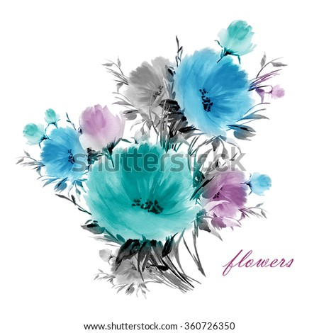 Watercolor flower bouquets-4. A vivid illustration for your design and decoration. Vintage. Toned. - stock photo