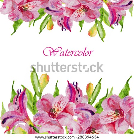 Watercolor flowers alstroemeria. Handmade greeting cards.