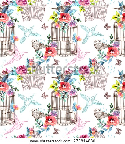 Watercolor flowers and bird cage, seamless pattern - stock photo