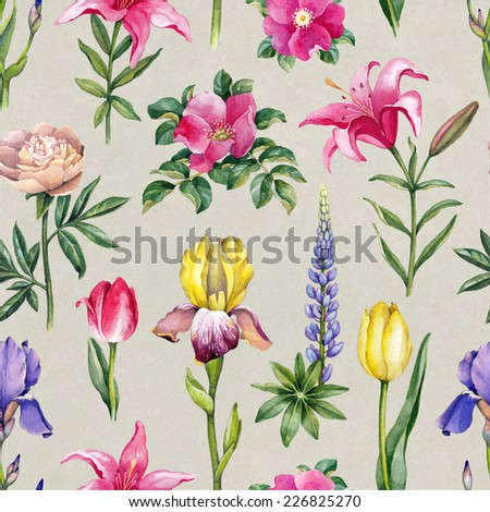 Watercolor flowers illustration. Seamless pattern  - stock photo