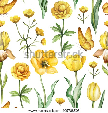 Watercolor flowers illustration. Seamless pattern