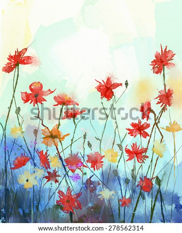 Watercolor flowers painting in soft color and blur style .Vintage painting flowers .Spring floral seasonal nature background - stock photo