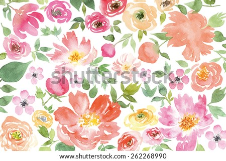Watercolor flowers. Pattern.  Illustration. Spring. Summer. - stock photo