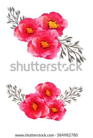 Watercolor flowers poppies - stock photo