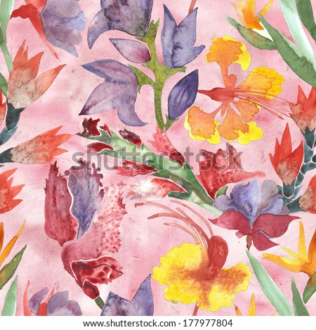 Watercolor flowers seamless pattern - stock photo