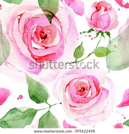 Watercolor flowers. Seamless pattern. Watercolor painting with Rose flowers, seamless pattern. Watercolor English roses seamless pattern. Watercolor roses. - stock photo
