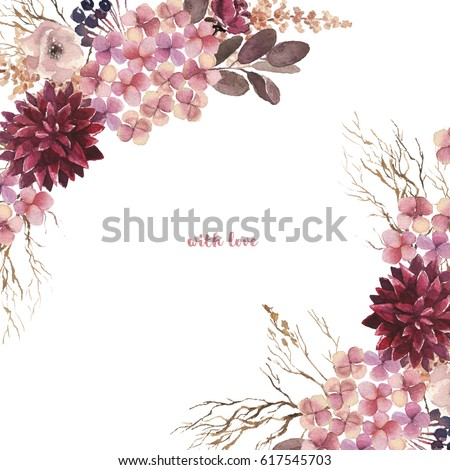 Watercolor hand drawn flower wreath for design artistic isolated - Burgundy Stock Images Royalty Free Images Amp Vectors