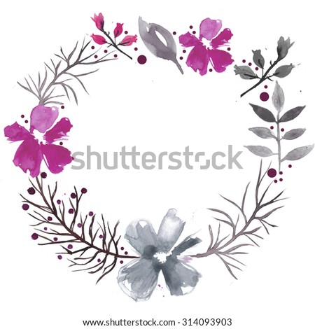 Watercolor flowers wreath. Hand drawn background.