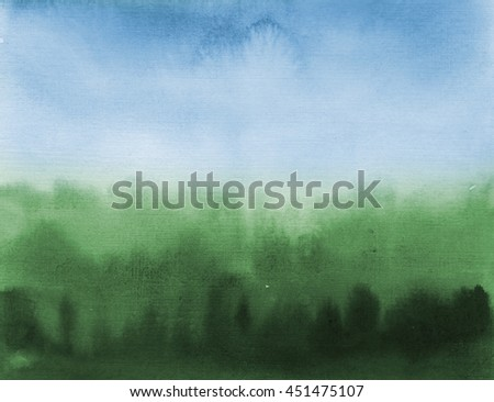 watercolor foggy forest