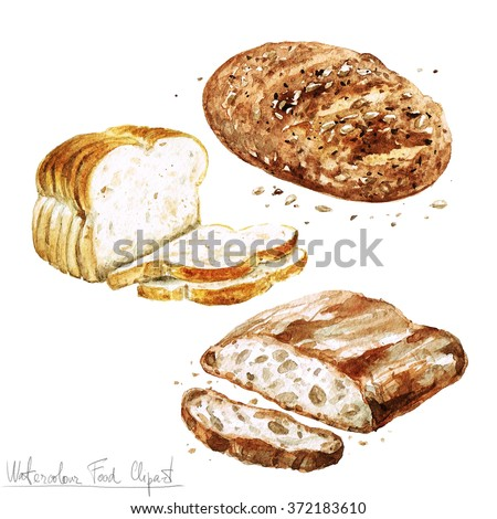 Watercolor Food Clipart - Baking. Isolated - stock photo