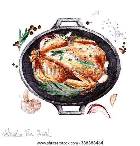 Watercolor Food Clipart - Chicken in a cooking pot - stock photo
