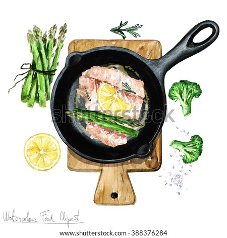Watercolor Food Clipart - Fish on a frying pan - stock photo