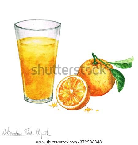 Watercolor Food Clipart - Orange juice - stock photo