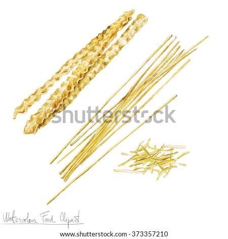 Watercolor Food Clipart - Pasta - stock photo