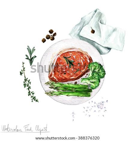 Watercolor Food Clipart - Pork chop - stock photo