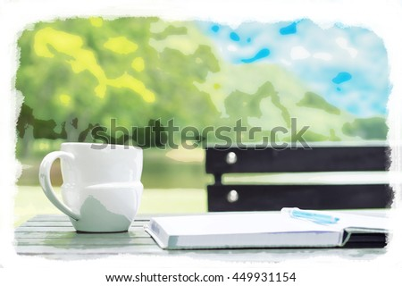 Watercolor for work with nature concept, Nature background - stock photo