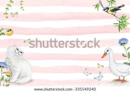 Watercolor frame with cute cat, goose and bird - stock photo