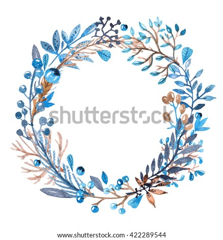 Watercolor frame with leafs and berries in blue and brown colors for beautiful design - stock photo