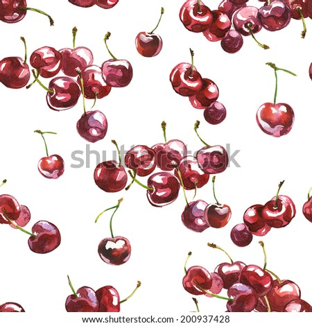 Watercolor fresh cherry berries pattern with white background