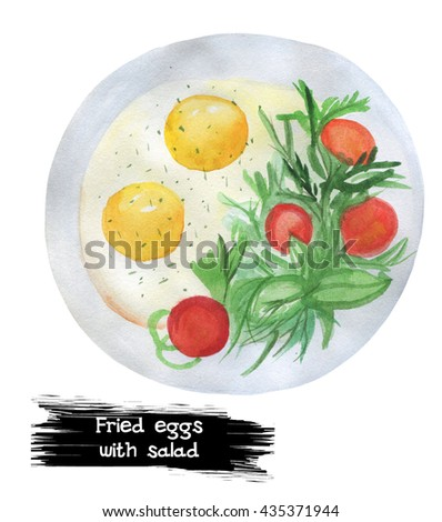 Watercolor fried eggs with vegetable salad. Classical English breakfast. Fresh tomatoes with eggs isolated on white. For restaurant menu design, banners, posters. Organic healthy food. Nutrition lunch - stock photo