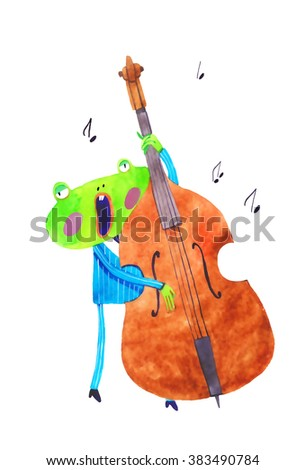watercolor frog, contrabass , cartoon illustration isolated on white background - stock photo