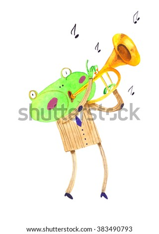 watercolor frog, trumpet , cartoon illustration isolated on white background