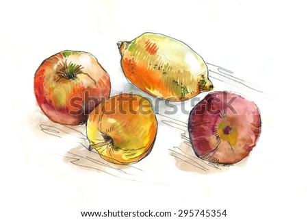 watercolor fruit on the table - stock photo