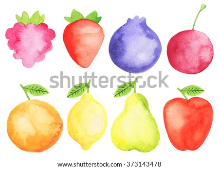 Watercolor fruits and berries set: apple, lemon, orange, strawberry, raspberry, blueberry, pear, cherry, watermelon Bright and colorful design elements for children, menu, kitchen. Childish style - stock photo
