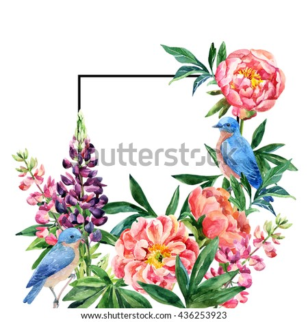 Watercolor garden flowers card. Lupin, peony flowers, bluebird couple with black square frame on white background. Hand painted illustration with paper texture