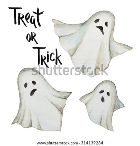 Watercolor ghosts , poster for a happy Halloween party. - stock photo