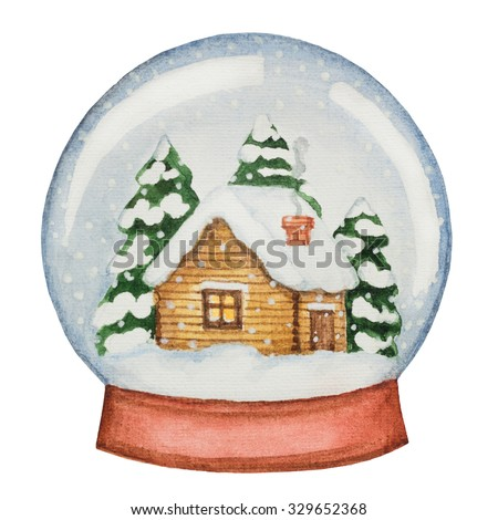 Watercolor glass ball with a house and pine trees. Illustration for Christmas and new year.